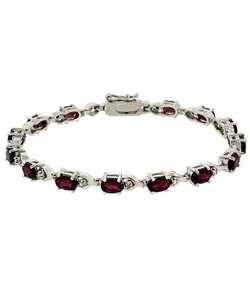Glitzy Rocks Sterling Silver Diamond Accent Garnet Bracelet