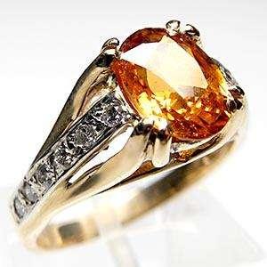 Vintage Jewelry Hessonite Garnet Diamond Ring 14K Gold