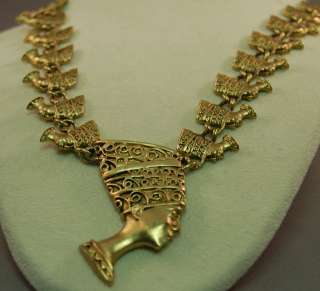 Stunning Gold Tone Metal Tut Pharoah Necklace/Nefertiti Egyptian
