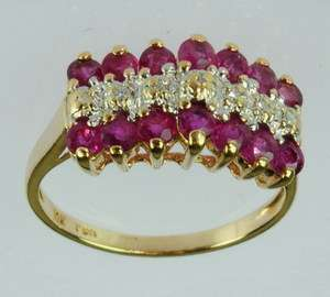 LADIES 14K YELLOW GOLD DIAMOND RUBY CLUSTER ESTATE RING 108039