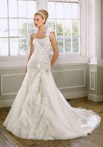 White One Shoulder A line Custom Wedding dress/Bridal gown/SZ 8 10 12