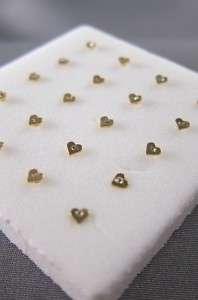 24K Gold Heart Shape Nose Bone Stud Ring Clear Gem