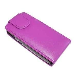 Modern Tech Purple PU Leather Flip Case for Sony Ericsson