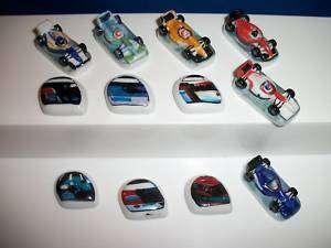FORMULA ONE Set 12 FEVES Porcelain RACE CARS HELMETS