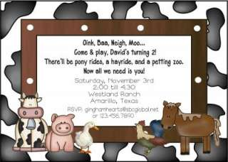 BARNYARD FARM Birthday Party Personalized Invitations