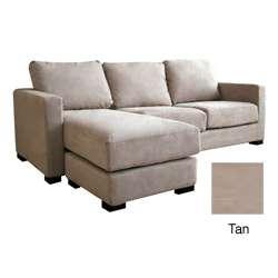 Chyna Tan Microfiber Sofa with Convertible Ottoman/ Chaise