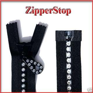 14 Swarovski Rhinestone Zipper ~ Separating ~ Black