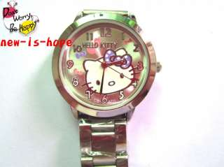 Cute HelloKitty Lady Girls stainless steel Quartz wrist watch B4