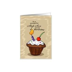 Cupcake   Birthday card for Step Son Card Health & Personal Care