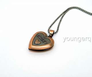Beautiful Heart Shape Copper Phote Locket Pendant 70cm Chain Necklace