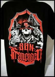 SF San Francisco 49ers Money Skull T Shirt Bay Area Bridge Frisco 415