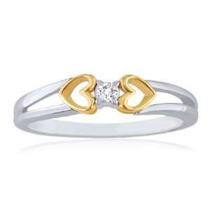 Heart Yellow and White Gold Diamond Solitaire Promise Ring Jewelry