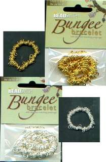 BS STRETCHY BUNGEE BRACELET w/JUMP RINGS GOLD or SILVER 790524018413