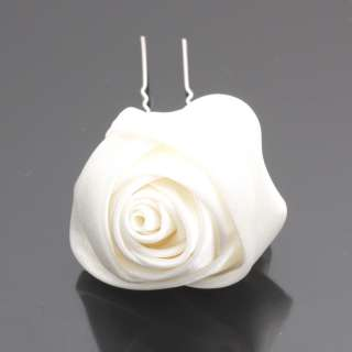 Ivory Silk Rose Bridal Wedding Flower Hair Pin Clip