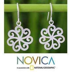 Sterling Silver Snow Blossom Flower Earrings (Thailand)
