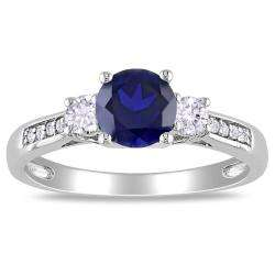 10k White Gold Created Sapphire and Diamond Accent Ring