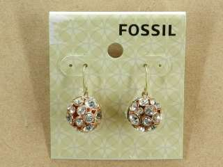 NEW FOSSIL ROSE BLING BALL DROP EARRINGS CRYSTALS ROSE GOLD TONE NWT