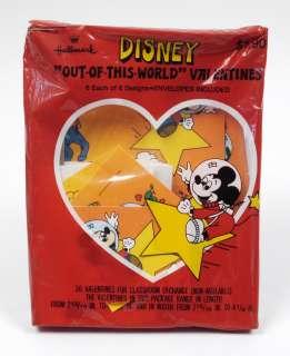 36 DISNEY Space Theme Valentines Cards Hallmark 1980s Vintage MIB