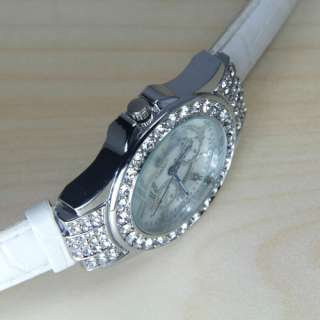 Girl Fashion Diamond Crystal leather lady Quartz Watch