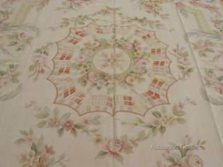 12 Woven Aubusson Area Rug FRENCH ROSE MEDALLION