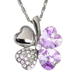 com Swarovski Elements 18k White Gold Plated Crystal Four Leaf Clover