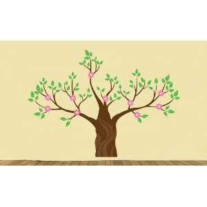 BIG Tree Vinyl Wall Decal Magical Winter Tree with Flowers