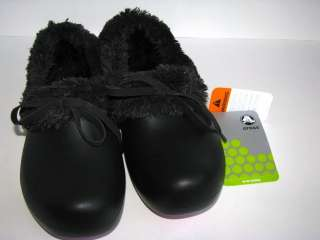 CROCS gretel dutch clogs Womens 6 US NEW soft lined black shoes Super