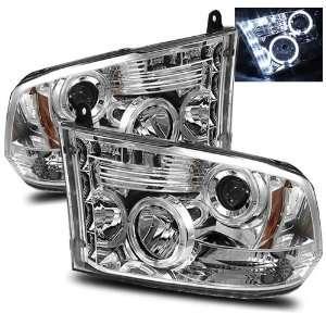 09 10 Dodge Ram 1500 Chrome LED Halo Projector Headlights Automotive