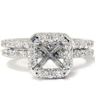 Semi Mount Engagement Wedding Ring Set 14K White Gold  Pompeii3 Inc