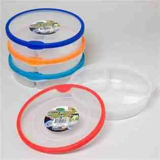 DDI 3 Section Round Plastic Food Storage Container Case Pack 48 428623