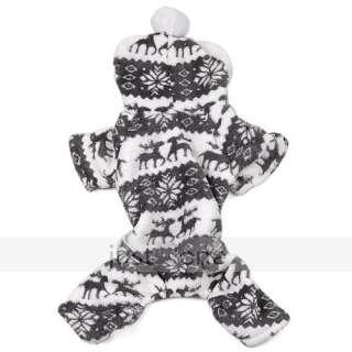 Pet Dog Doggie Puppy Warm Soft Apparel Snowflake Deer Hoodie Jumpsuit