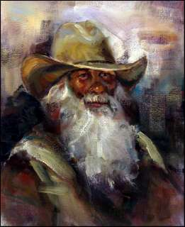 Guadalupe Apodaca COWBOY Original Oil Painting Canvas Hand Signed
