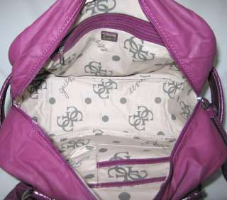 GUESS Sassy Logo Bag Purse Satchel Black Purple New NWT