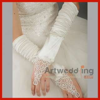 13Fingerless Sequined Applique Satin Bridal Wedding Gloves Elastic