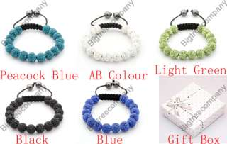 Pave Disco Ball CZ Clay Crystal Friendship Bracelets + Gift Box
