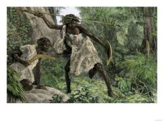 Hunters Using an Atlatl and a Boomerang in an Australian Forest, 1800s