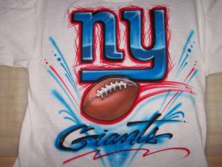 Airbrushed NY Giants Football T Shirt Airbrush Any Team Logo Superbowl
