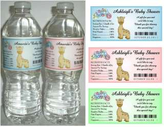 20 GIRAFFE BABY SHOWER FAVORS WATER BOTTLE LABELS ~ Glossy
