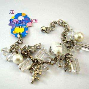A0336 Glass Crystal Pearl Bead Heart Amor Bracelet white