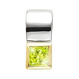 White Gold Pendant with Greenish Yellow Diamond 3/4 carat Princess cut