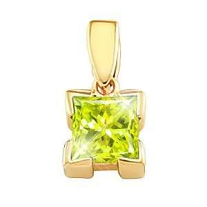White Gold Pendant with Greenish Yellow Diamond 1 carat Princess cut