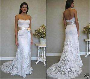 Alencon Lace Beads Bridal Wedding Dress Gown NWT HBZ065