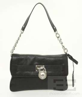 Michael Michael Kors Black Leather & Silver Padlock Shoulder Bag