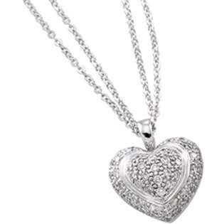 14k White Gold Center Heart Pearl Necklace  Diamond Fascination