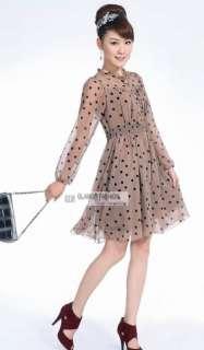 New Womens Long Sleeve Chiffon Dress #GF229 Free p&p