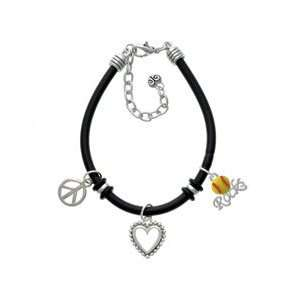 Enamel Softball Rocks   Black Peace Love Charm Bracelet