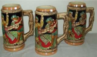 Vintage Ceramic Beer Steins Japan Castle/People Scene