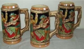 Vintage Ceramic Beer Steins Japan Castle/People Scene |