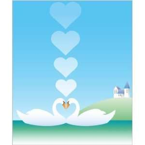 Love between swans car bumper sticker decal 4 x 5