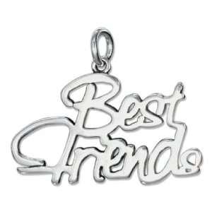 Sterling Silver Script Best Friends Charm. Jewelry